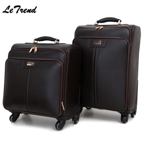 Genuine Leather 16'18'20'22'' Rolling Luggage Casters Cabin Wheel Suitcases Spinner Travel Bag