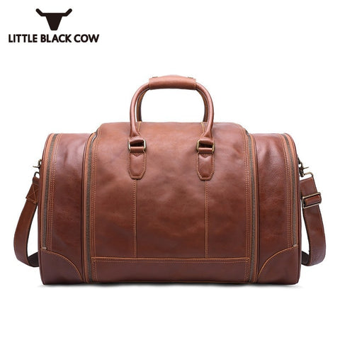 Men Travel Bags 2019 Vintage High Capacity Genuine Leather Tote Bag Male Waterproof Luggage Bag