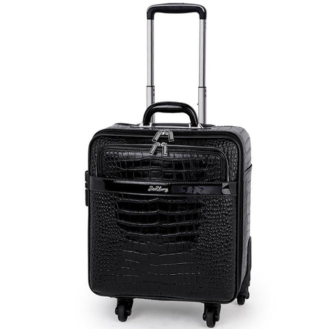 2019 new 16/20/22 Inch Spinner Suitcase Men Real Cowhide Leather  Pattern Trolley Luggage  Laptop Draw-bar Box Black Color,