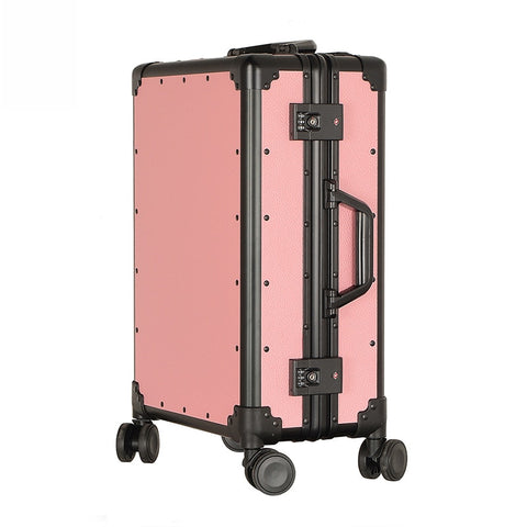 New Aluminum Frame Trolley Case Men And Women Vintage Travel Suitcase Pp Universal Wheels Trolley