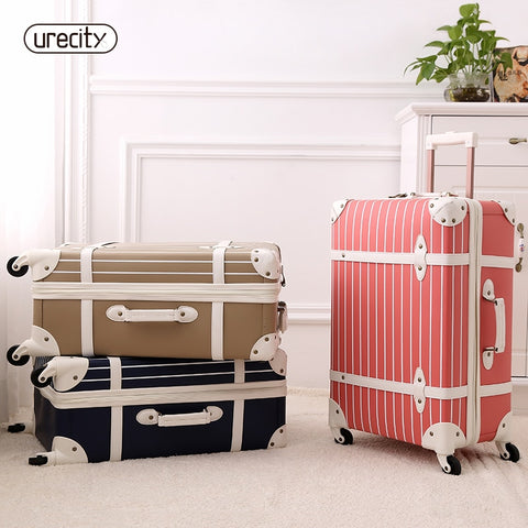 Fashion Luggage Inches Girl Trolley Case Pp Students Lovely Travel Striped Luggage Rolling Suitcase