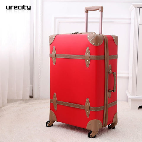 2018 fashion Red suitcase wedding luggage chinese red leather pole travel suitcase wedding pu pp material high quality