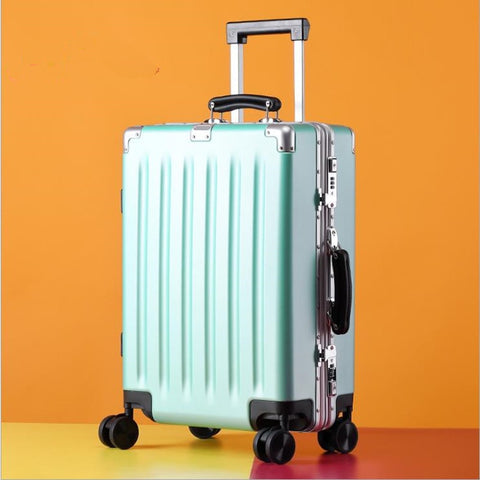 20''24'' Universal wheel  Vintage Rolling hardside luggage travel suitcase with wheels Leather handles Custom laser engraving