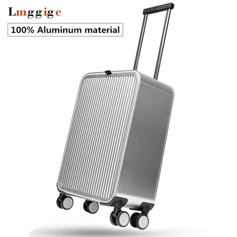 "100% Full Aluminum Body Rolling Travel Luggage Bag,Matte Wheel Suitcases,New Carry-On Box,20""24"""