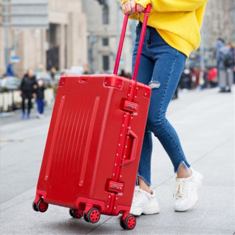 2019 New Belt Aluminum Frame Trolley Case Pull Rod Suitcase 20/24/26/29 Inch Vintage Travel