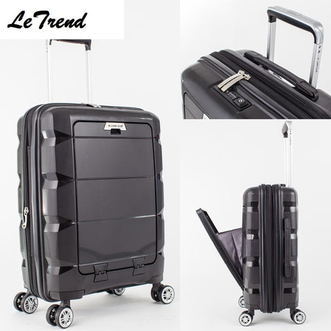 20/24Inch Computer Interlayer Waterproof Rolling Luggage 100% Pp Trolley Solid Travel Bag