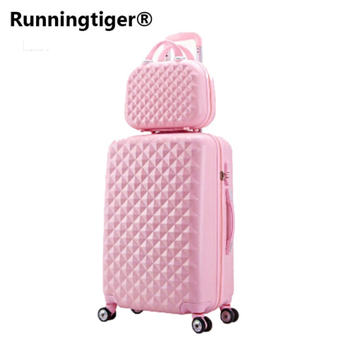 "Travel suitcase set Rolling Luggage set Spinner trolley case 20"" boarding wheel Woman Cosmetic case carry-on luggage travel bags"