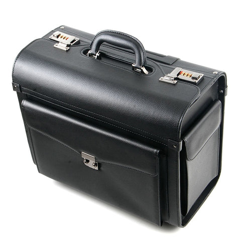 Rolling Luggage Business Cabin Travel Bag Pu Leather Pilots/Captains Dedicated Flight Suitcases