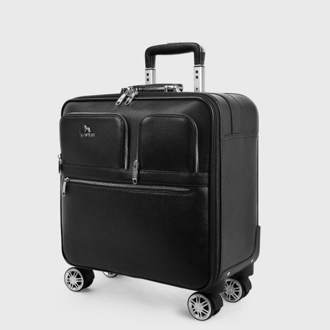Genuine Leather Black Carry-On Trolley Case,Classic Suitcase, Vintage Trunk,Rolling