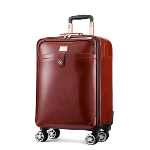 "Classic Men And Women Cow Leather Trolley Case,Retro Carry-On Luggage,16""/20""Boarding"