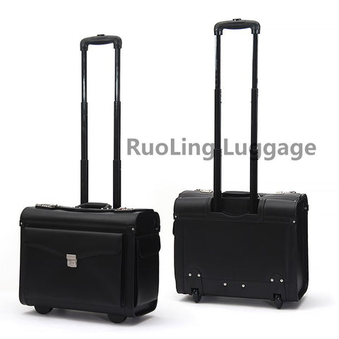 Carrylove Genuine Leather Rolling Luggage Spinner Men Business Suitcase Wheels Carry On Trolley