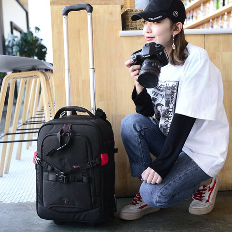 Trolley Camera Bag,Professional Large-Capacity Camera Bag Luggage,Multi-Function Trolley