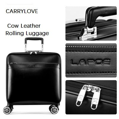 Carrylove Boarding Dedicated Retro Luxury 16/20/22 Size Cow Leather Rolling Luggage Spinner Brand