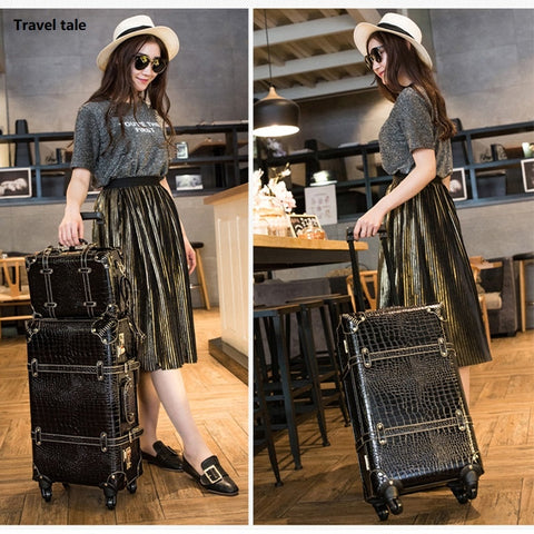 Travel Tale Fashion Password Restoring Ancient Ways Pu 22/24 Inch Size Rolling Luggage Spinner