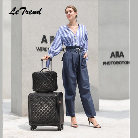 New Fashion 16/20/24 Size 100% Pu Rolling Luggage Spinner Brand Travel Suitcase Women Boarding