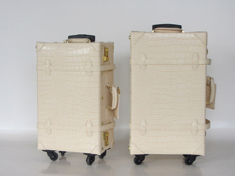 Customized!New Arrival Vintage Travel Bag Plaid Universal Wheels Trolley Luggage Bag18  20 22 24 28