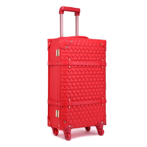 Chinese Red Pu Leather Travel Luggage,High Quality Bride Trolley Luggage Set,12 22 24Inches Vintage
