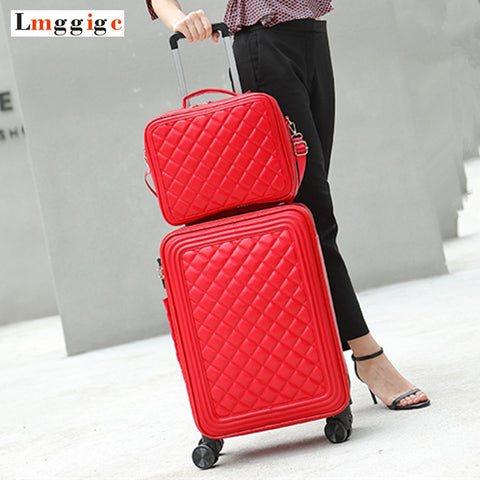 Women'S Upgraded Version Rolling Luggage Suitcase Bag Set ,Fashion Pu Leather Trolley Case With