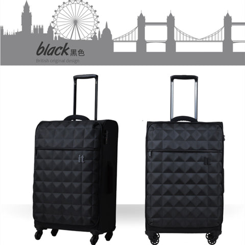 "Lightweight Trolley Case,Plaid Grain Oxford Cloth Suitcase,Universal Wheel Luggage,19""Boarding"