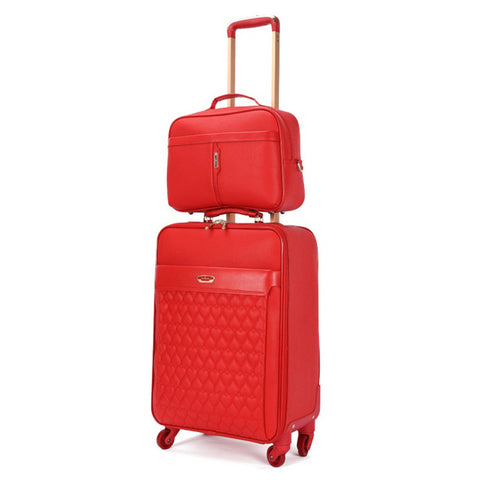 "Wedding 2 Piece Set Of Suitcase,Handbag+Rolling Luggage, Stylish Tolley Case,16""/20""Boarding"