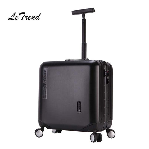 Letrend Aluminium Frame Rose Gold Rolling Luggage Spinner Trolley Travel Bag 18 Inch Women Men