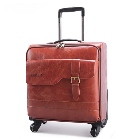 Cowhide Split Leather Box Quality Leather Trolley Luggage 16 18 20 22 24 28 Universal Wheels