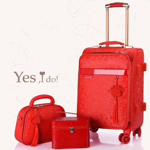 Red Suitcase,Wedding Trunk,Exquisite Dowry Box,High Quality Trolley Case,Universal Wheel Password