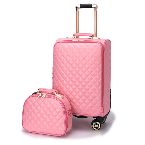 Women'S Fashion Set Of Trolley Case,Lady Cute Suitcase,Small Fresh Korean Trunk,Student