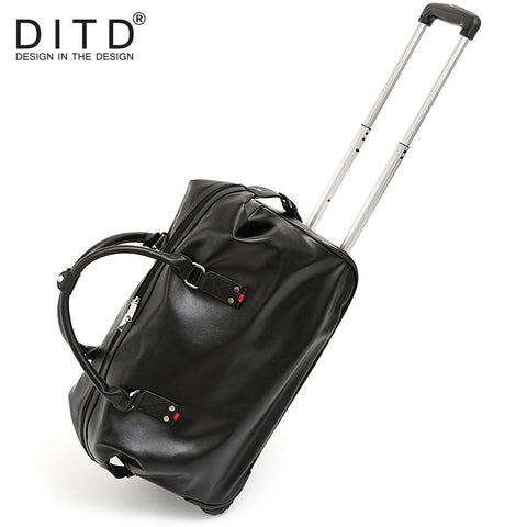 Suitcase Carry On Spinner Wheel Luggage Fashion Men Pu Leather Travel Bags  Weekend Bag Duffle