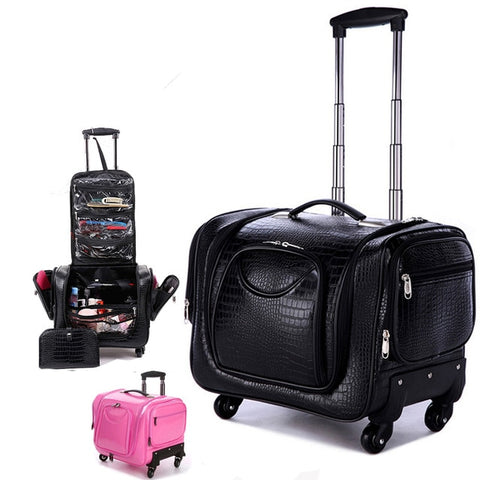 Carrylove Black Crocodile Rolling Luggage 18 Inch Multifunction Pu Leather Suitcase Wheels Women