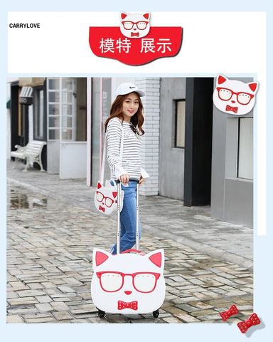 Carrylove Cartoon Cat 18 Inch High Quality Pu Handbag+ Rolling Luggage Spinner Brand Travel