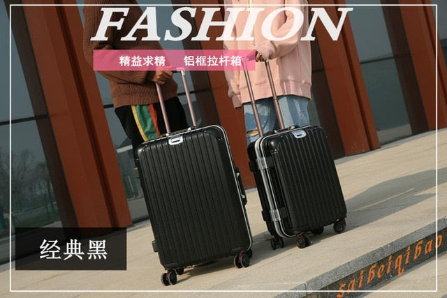 2018 New Universal Wheel Trolley Case Pc Aluminum Frame Hard Shell Trolley Case Student Suitcase