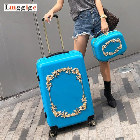 "20""24""Inch Women Travel Suitcase Bag With Cosmetic Bag Pc Hardside Rolling Luggage With Handbag"