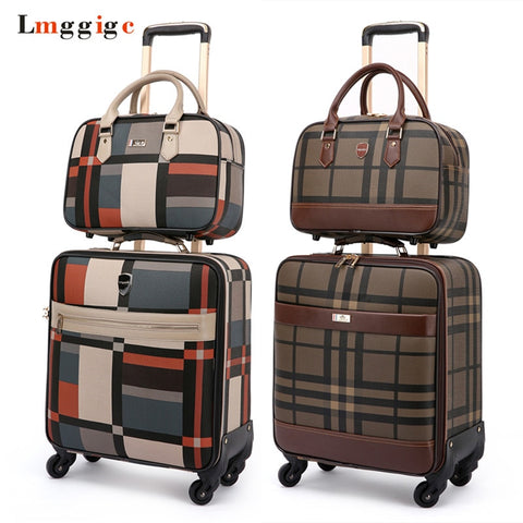 Women'S Pu Leather Suitcase Bag Set,Colorful Grid Pattern Luggage With Handbag,High Quality Trolley