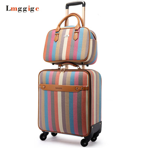 Women'S Colorful Suitcase Set,Pu Leather Stripe Pattern Luggage Bag, Fashion Trolley Case,