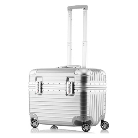 Airline Business Travel Suitcase Rolling Luggage Aluminum Suitcase 18 Inch Computer Trolley Case