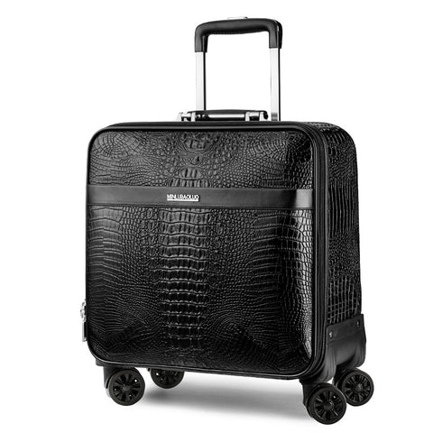 Crocodile Grain Luggage,Business Suitcase,Pu Trolley Case,Universal Wheel 16/20 Inch Boarding