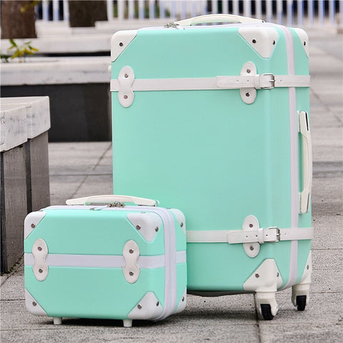 "Hotsale!14"" 20"" 24"" 28"" Retro Vintage Abs+Pc Trolley Luggage Set(2Piece/Set),Female Candy Color"