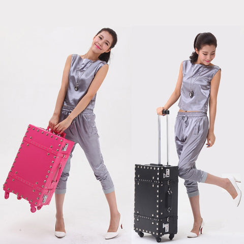Retro Universal Wheels Trolley Luggage Male Female Punk Rivet Bag Travel Password Box,12 20 22 24