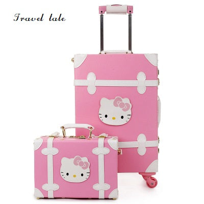 Travel Tale Super Cute Girl With High Quality Pu Rolling Luggage Spinner Brand Travel Suitcase