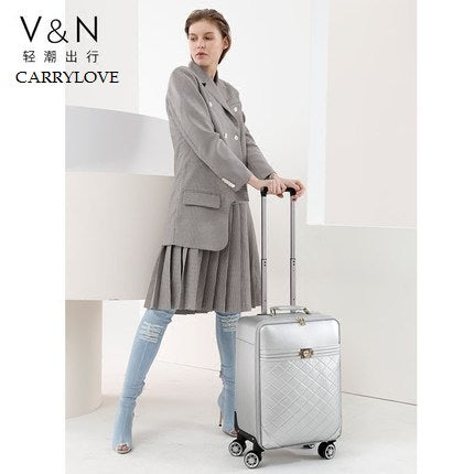Carrylove Business Leisure Fashion High Quality Female 16/20/24 Inch Size Pu Rolling Luggage