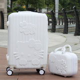 14+20Inchhello Kitty Suitcase,Trolley Travel Bag Set,Spinner Rolling Luggage