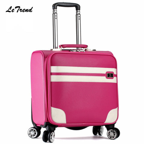 Letrend New Fashion 16 Inch Pu Leather Women Rolling Luggage Spinner Trolley Bag Suitcases Travel
