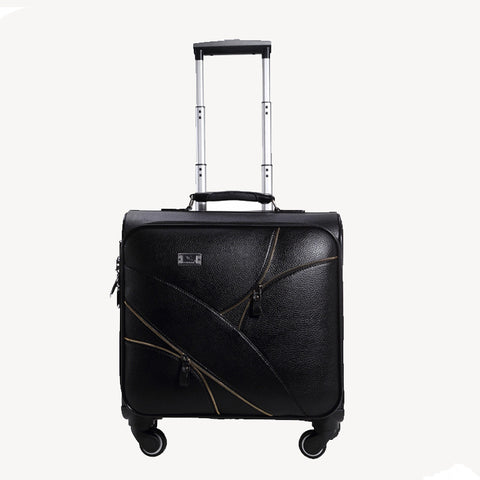 Good Quality 16 18 20 22 24Inches Black Pu Leather Trolley Luggage On Universal Wheels,Male And