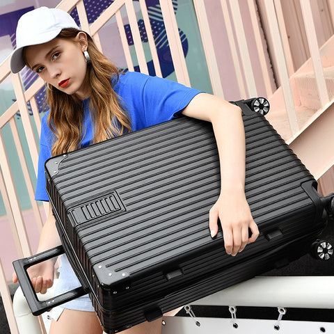 Hard Case Suitcase Universal Wheel Carry On Luggage Abs Pc Aluminum Frame Drawbar Box 20 Inch