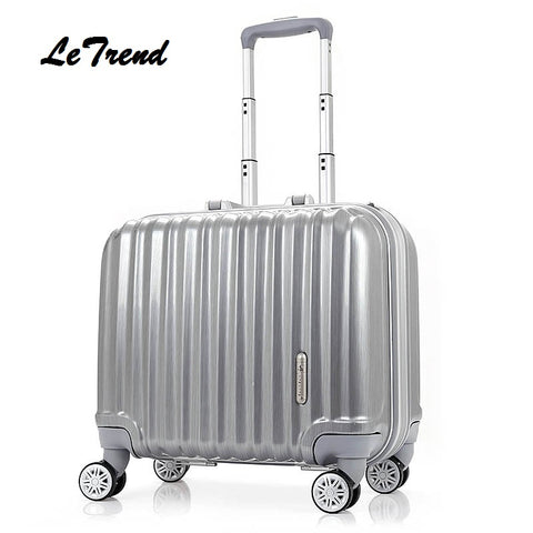Letrend Fashion Rolling Luggage Spinner 18 Inch Student Suitcase Wheels Trolley Colorful Carry On