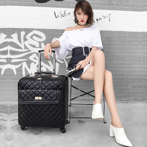 New Arrival!16 20 24Inches Female Black Pu Leather Suitcase,High Quality Women Commercial Travel