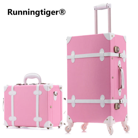 20''22''24''26'' Pu Leather Vintage Rolling Luggage Trolley Travel Bag Retro  Suitcase With Spinner