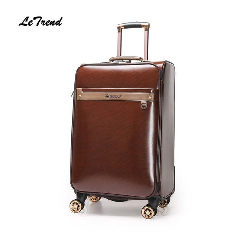 Letrend Women Leather Rolling Luggage Spinner Business Wheels Suitcases Men 16/20/24 Inch Trolley