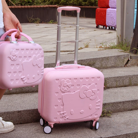 Hotsale!12 16Inches Girls Abs Hardside Trolley Luggage Sets,Pink Green Animal Universal Wheels